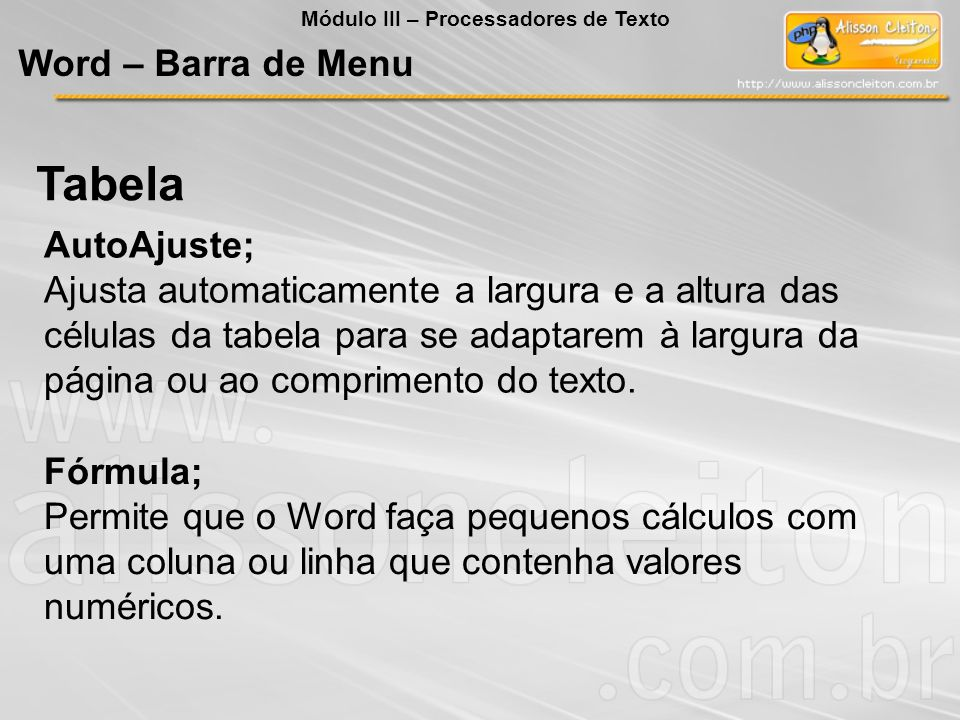 Tabela Word – Barra de Menu AutoAjuste;