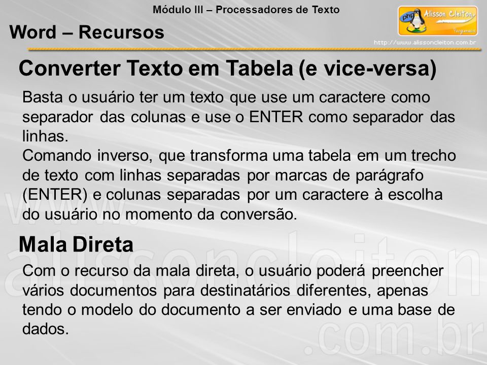 Converter Texto em Tabela (e vice-versa)