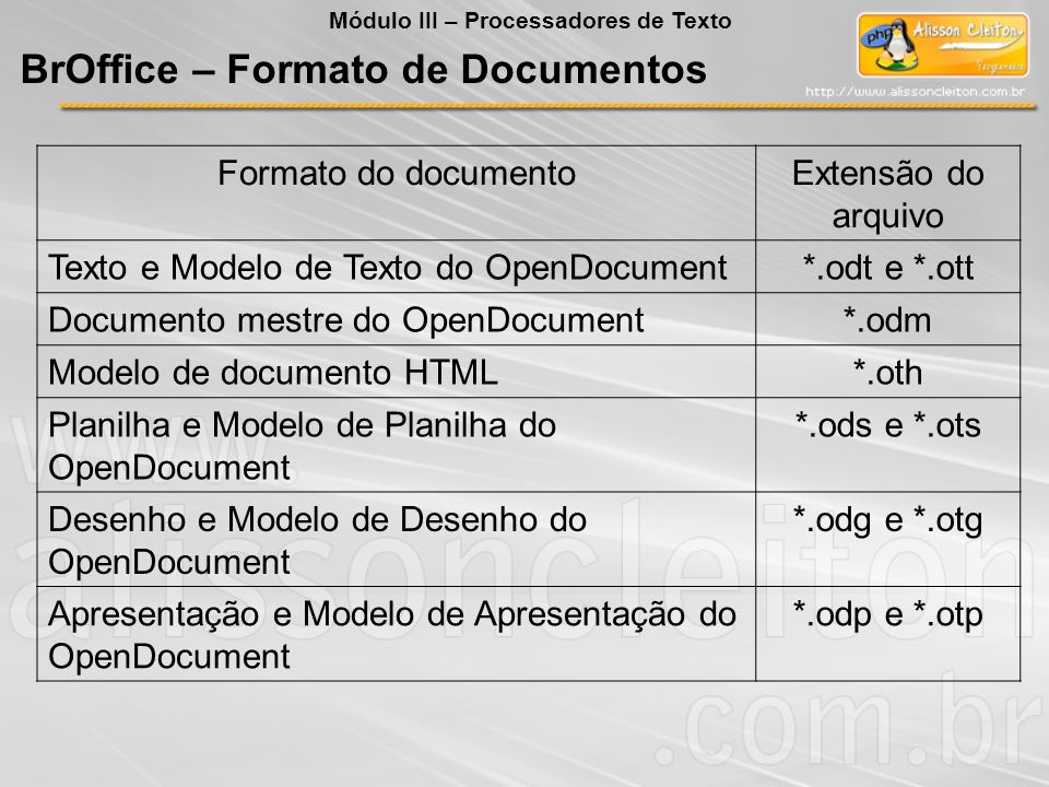BrOffice – Formato de Documentos