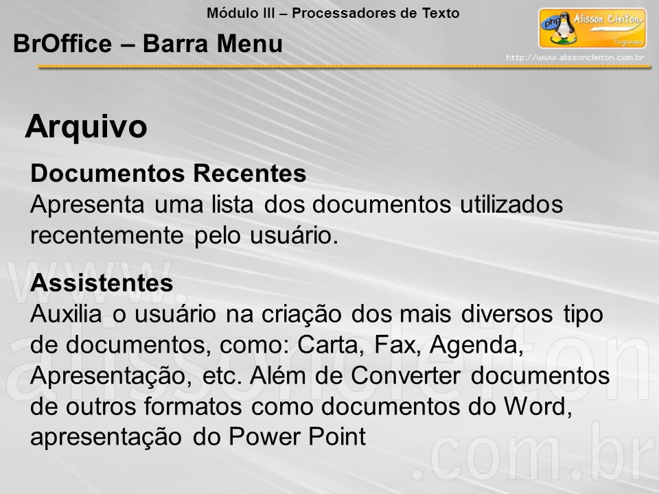 Arquivo BrOffice – Barra Menu Documentos Recentes