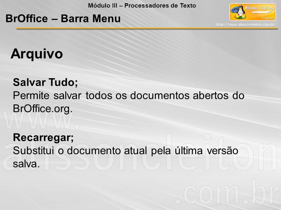 Arquivo BrOffice – Barra Menu Salvar Tudo;