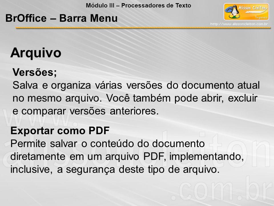 Arquivo BrOffice – Barra Menu Versões;