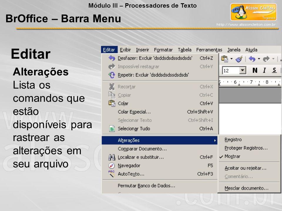 Editar BrOffice – Barra Menu Alterações