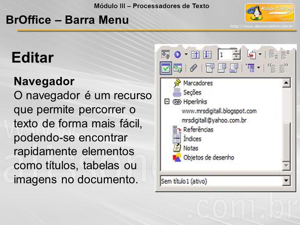Editar BrOffice – Barra Menu Navegador