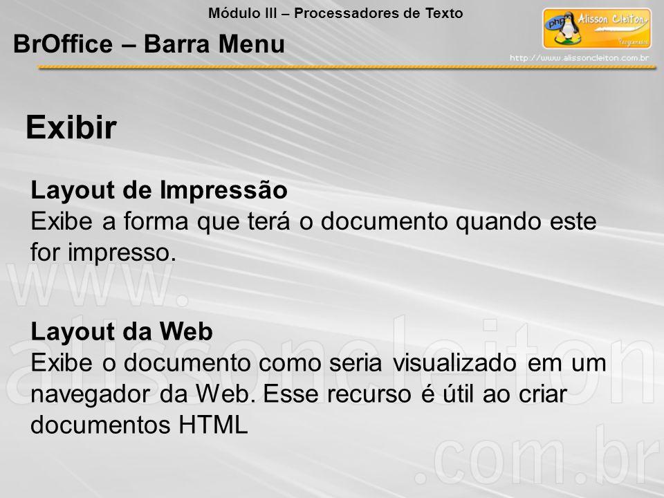 Exibir BrOffice – Barra Menu Layout de Impressão