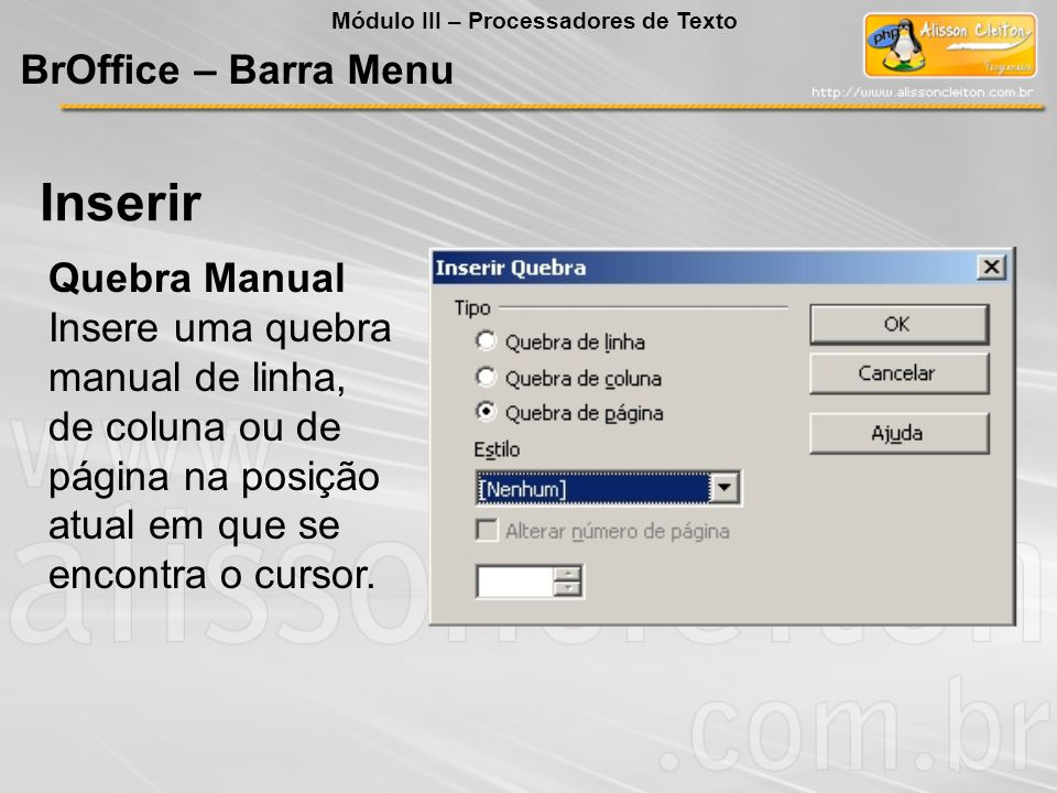Inserir BrOffice – Barra Menu Quebra Manual