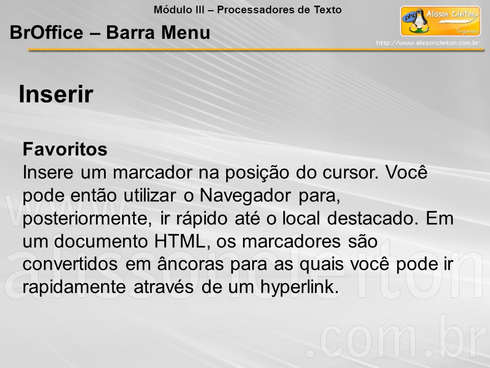 Inserir BrOffice – Barra Menu Favoritos