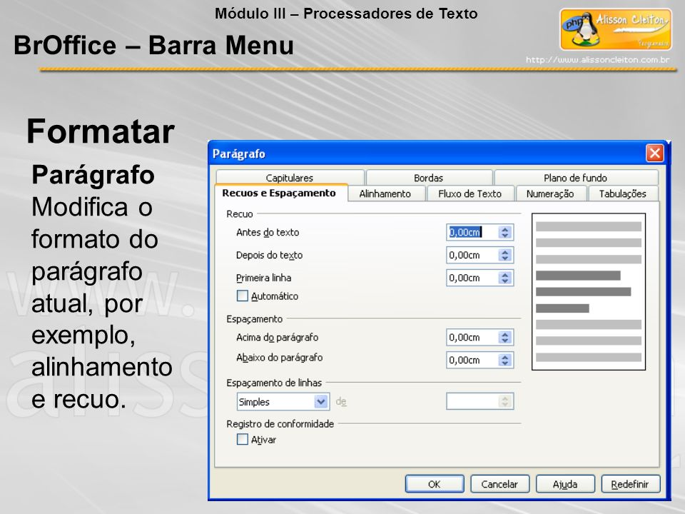 Formatar BrOffice – Barra Menu Parágrafo