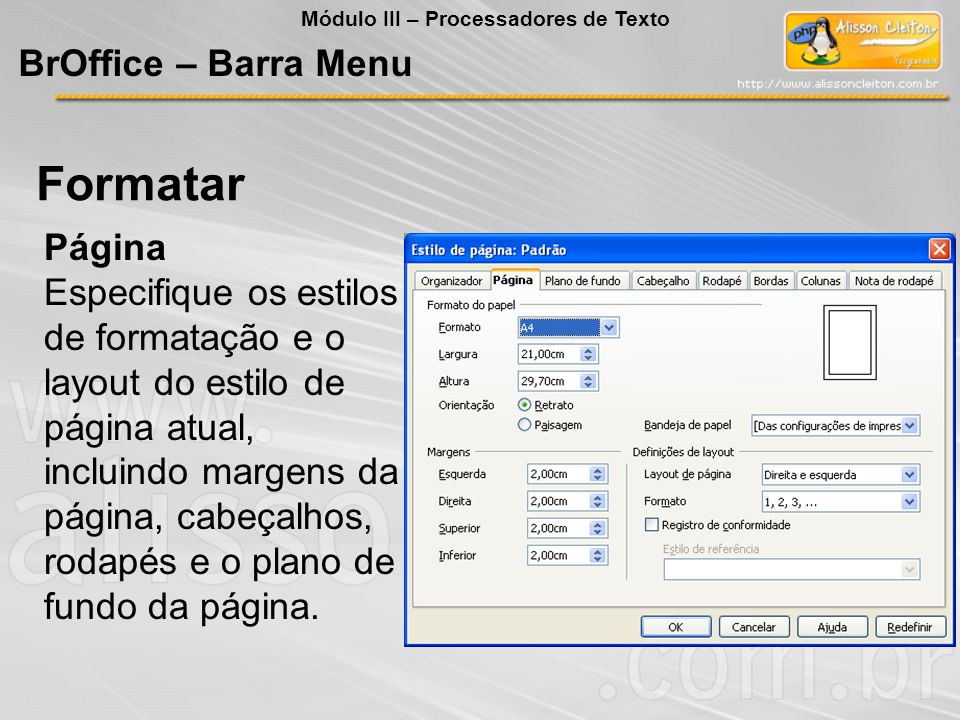 Formatar BrOffice – Barra Menu Página