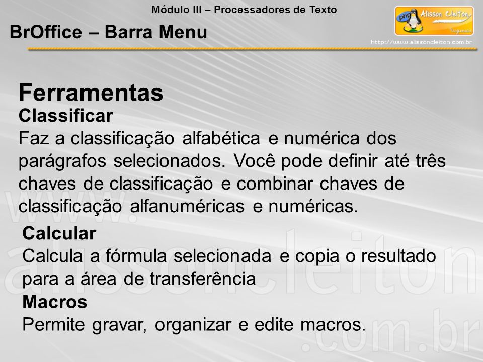 Ferramentas BrOffice – Barra Menu Classificar