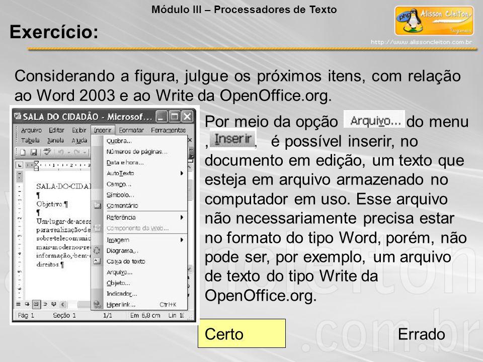Módulo III – Processadores de Texto