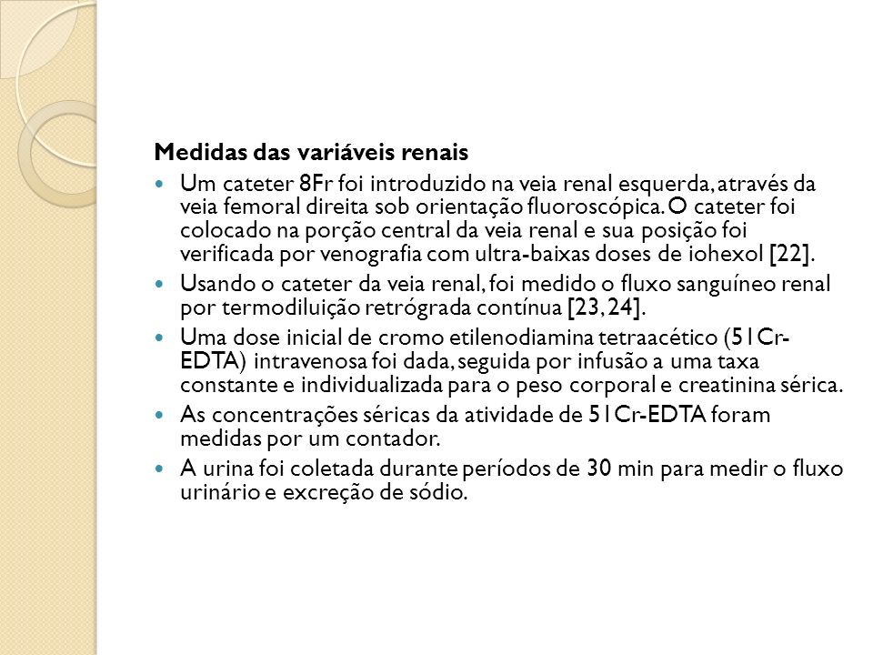 Medidas das variáveis renais