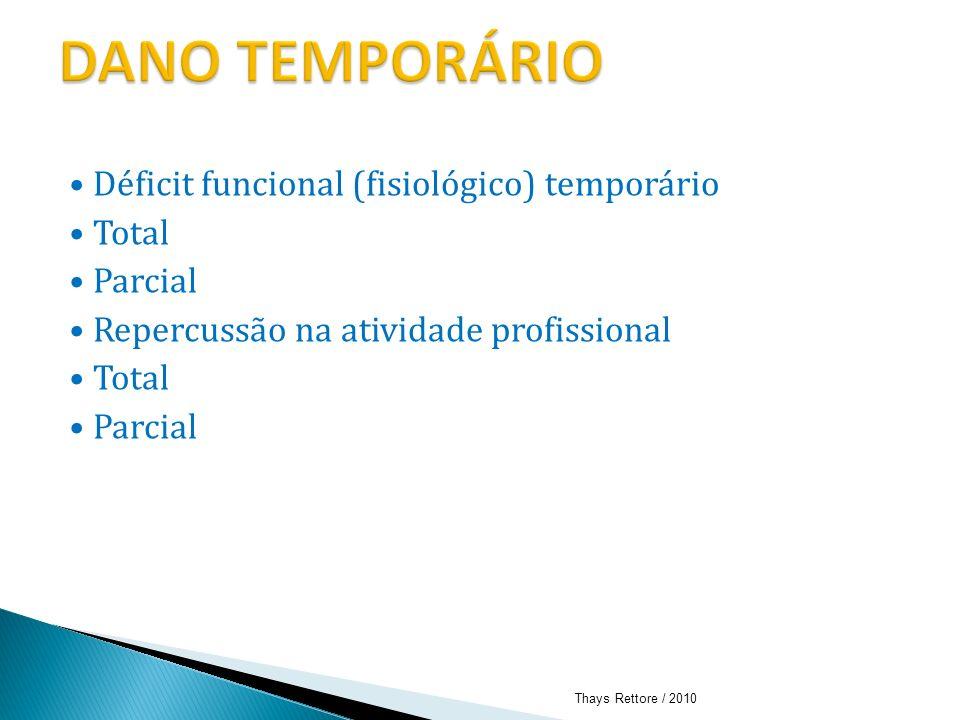 DANO TEMPORÁRIO • Déficit funcional (fisiológico) temporário • Total