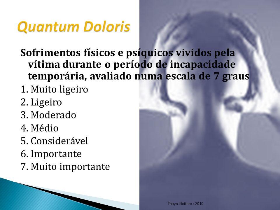 Quantum Doloris Sofrimentos físicos e psíquicos vividos pela vítima durante o período de incapacidade temporária, avaliado numa escala de 7 graus.