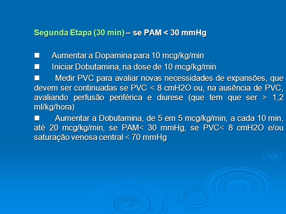 Segunda Etapa (30 min) – se PAM < 30 mmHg