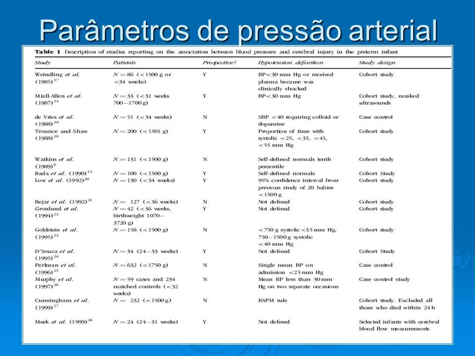 Parâmetros de pressão arterial