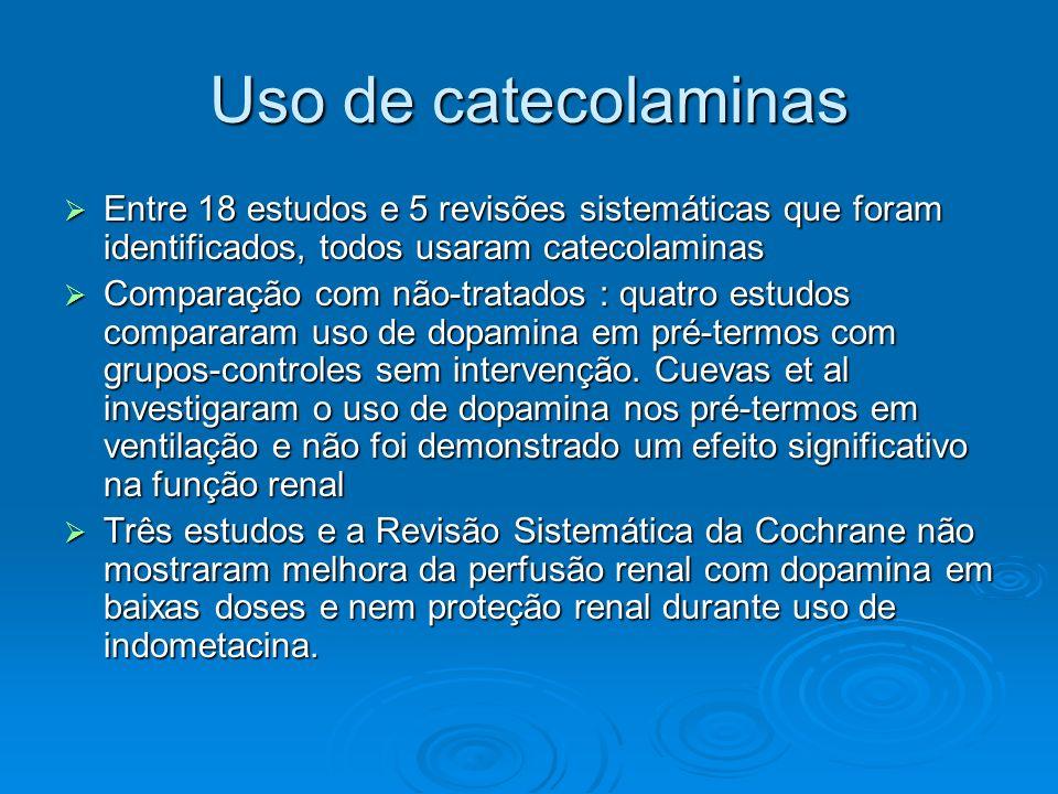 Uso de catecolaminas Entre 18 estudos e 5 revisões sistemáticas que foram identificados, todos usaram catecolaminas.