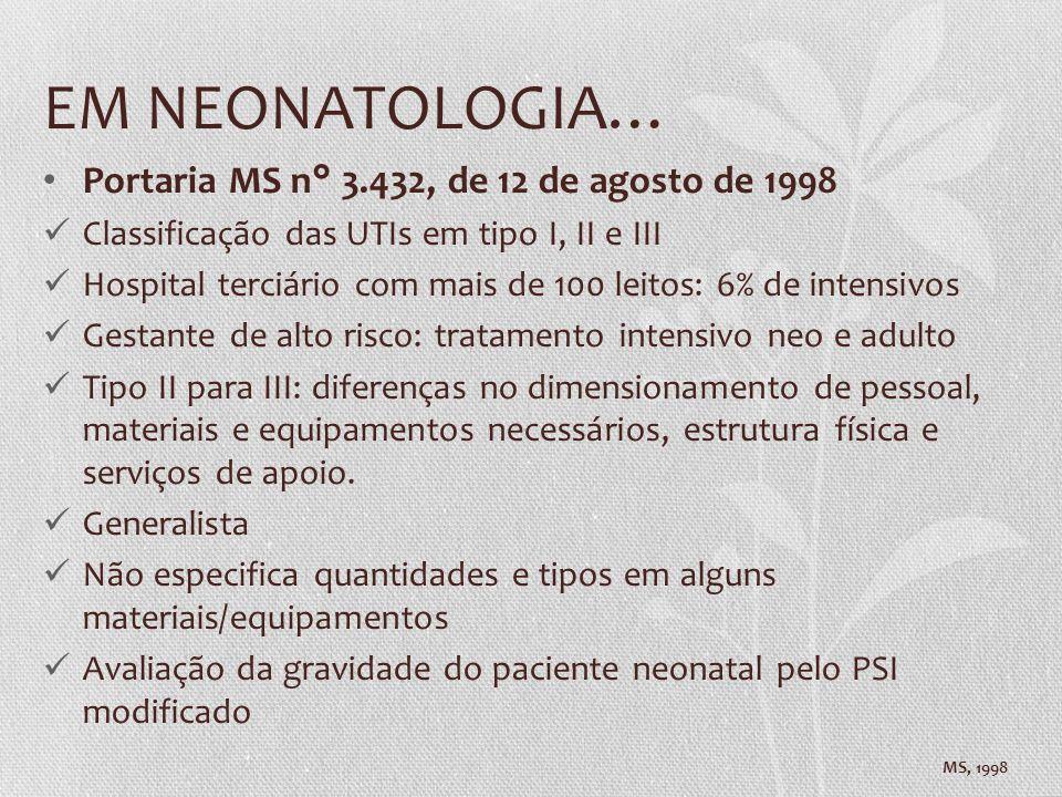 EM NEONATOLOGIA… Portaria MS n° 3.432, de 12 de agosto de 1998