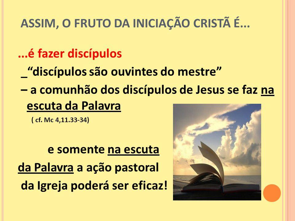 ASSIM, O FRUTO DA INICIAÇÃO CRISTÃ É...