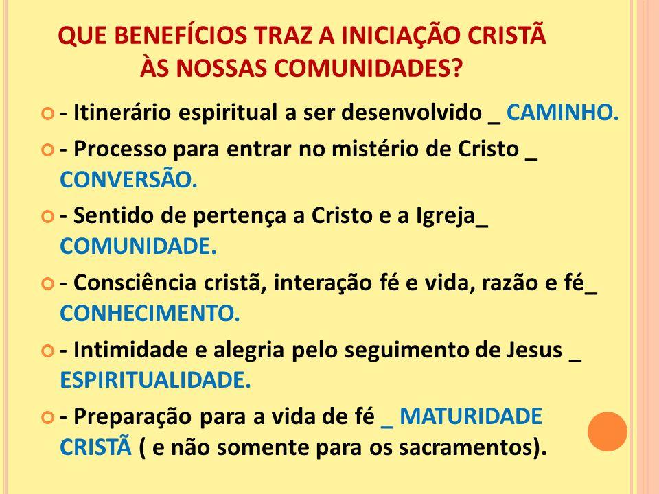 QUE BENEFÍCIOS TRAZ A INICIAÇÃO CRISTÃ ÀS NOSSAS COMUNIDADES