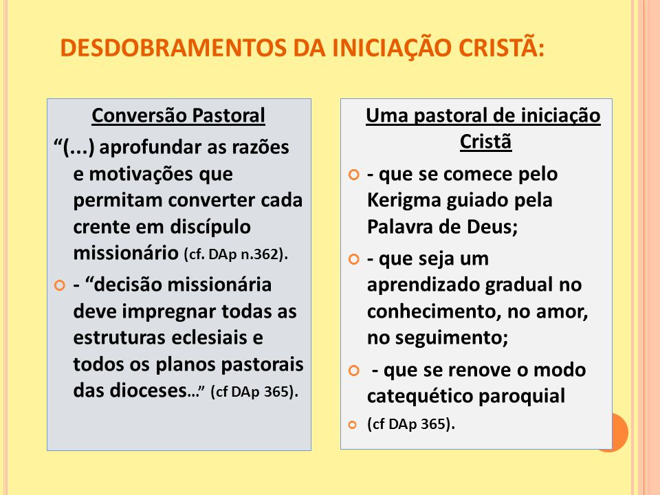 DESDOBRAMENTOS DA INICIAÇÃO CRISTÃ: