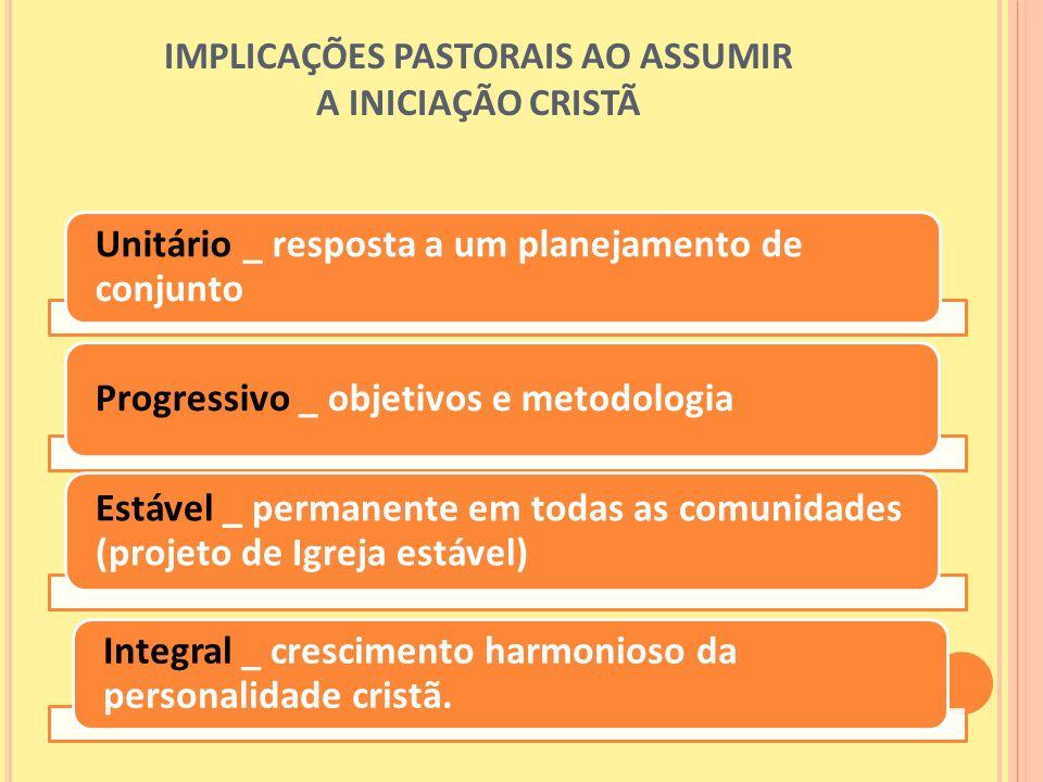 IMPLICAÇÕES PASTORAIS AO ASSUMIR A INICIAÇÃO CRISTÃ