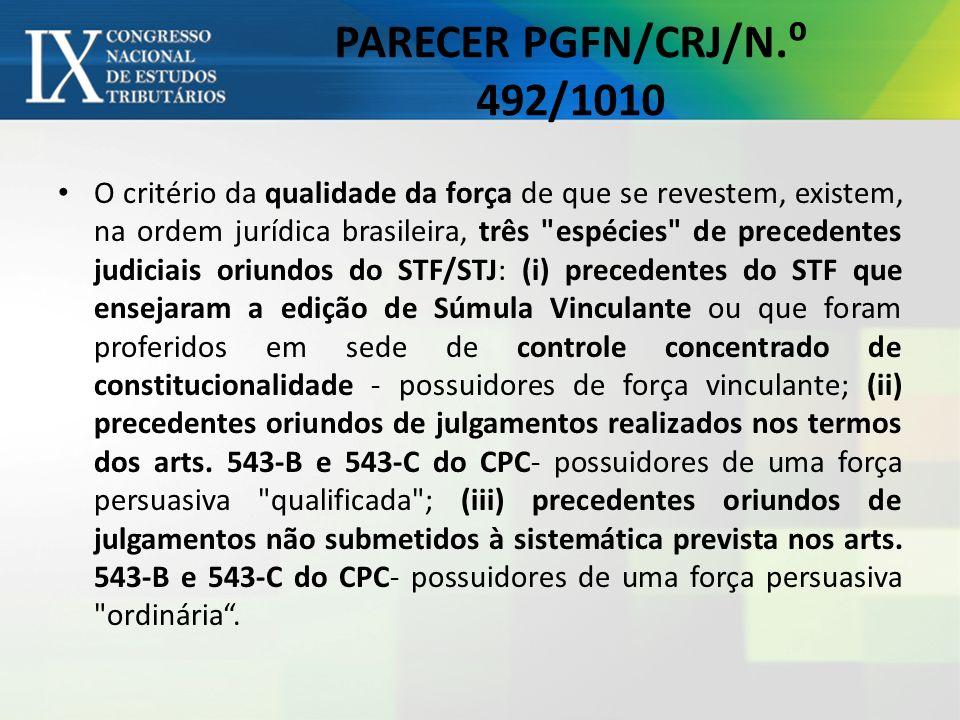 PARECER PGFN/CRJ/N.⁰ 492/1010