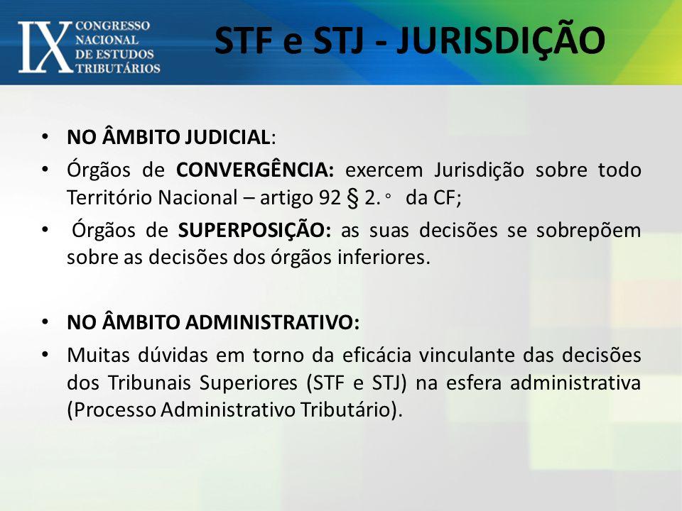 STF e STJ - JURISDIÇÃO NO ÂMBITO JUDICIAL:
