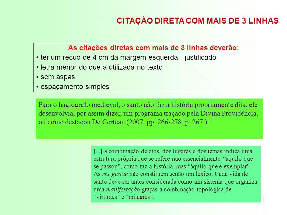 CITAÇÃO DIRETA COM MAIS DE 3 LINHAS