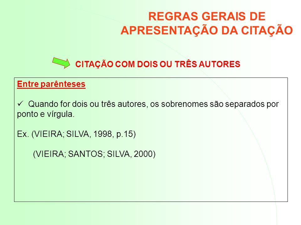 REGRAS GERAIS DE APRESENTAÇÃO DA CITAÇÃO