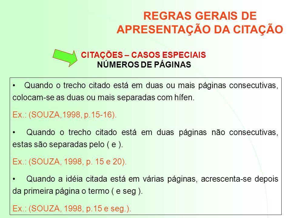 REGRAS GERAIS DE APRESENTAÇÃO DA CITAÇÃO CITAÇÕES – CASOS ESPECIAIS