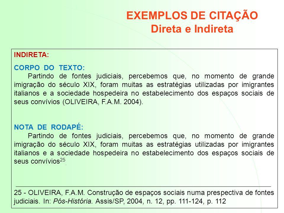 EXEMPLOS DE CITAÇÃO Direta e Indireta