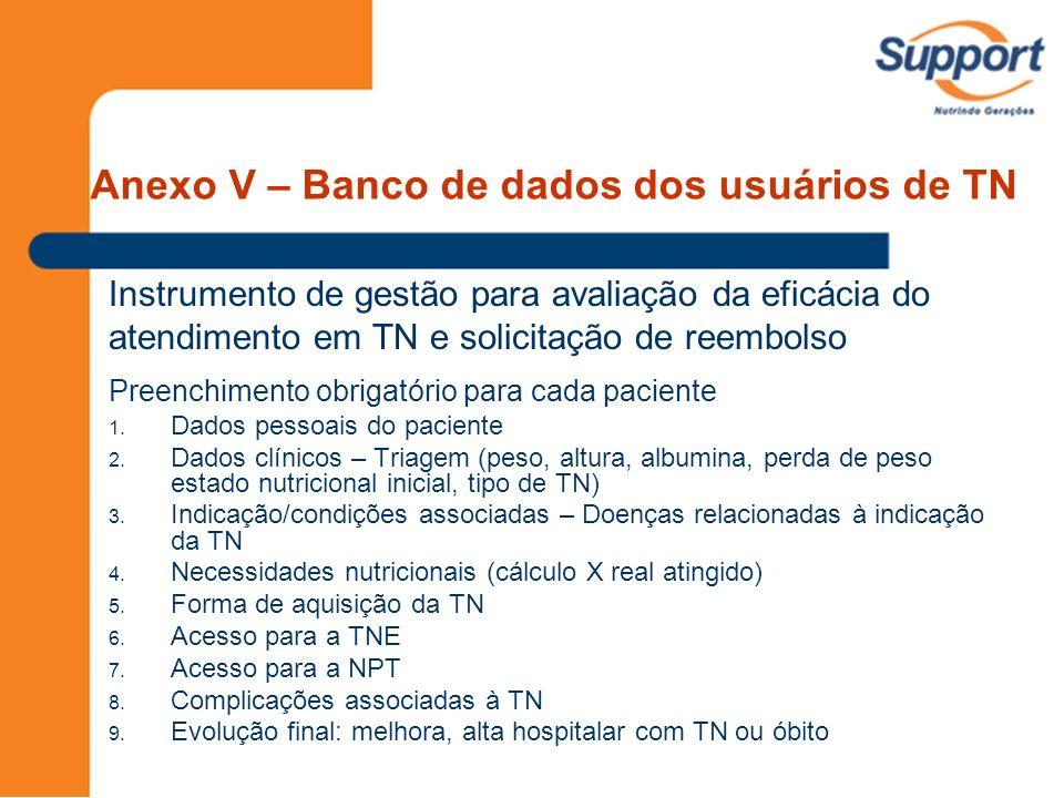 Anexo V – Banco de dados dos usuários de TN