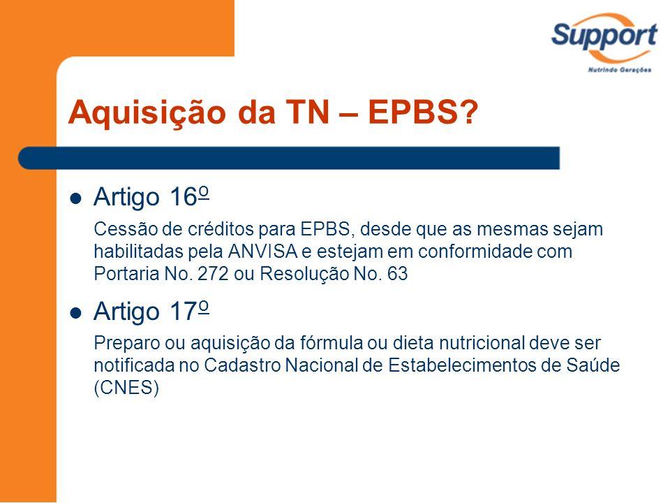 Aquisição da TN – EPBS Artigo 16o Artigo 17o