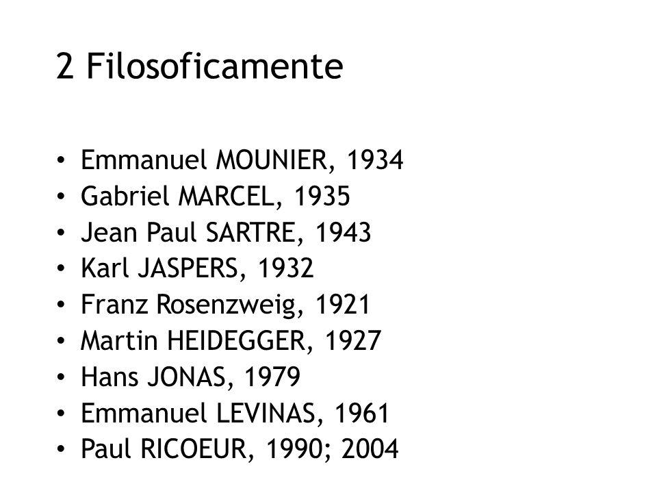 2 Filosoficamente Emmanuel MOUNIER, 1934 Gabriel MARCEL, 1935