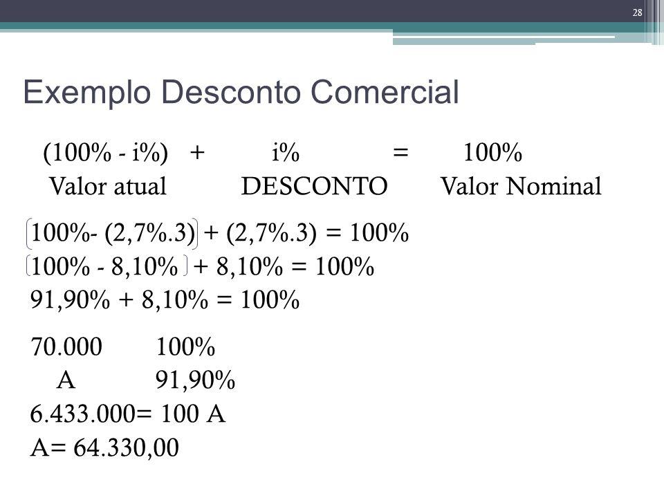 Exemplo Desconto Comercial