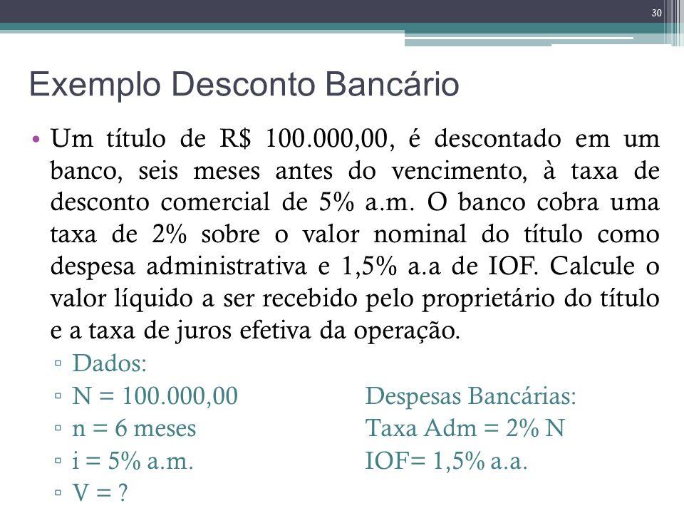 Exemplo Desconto Bancário