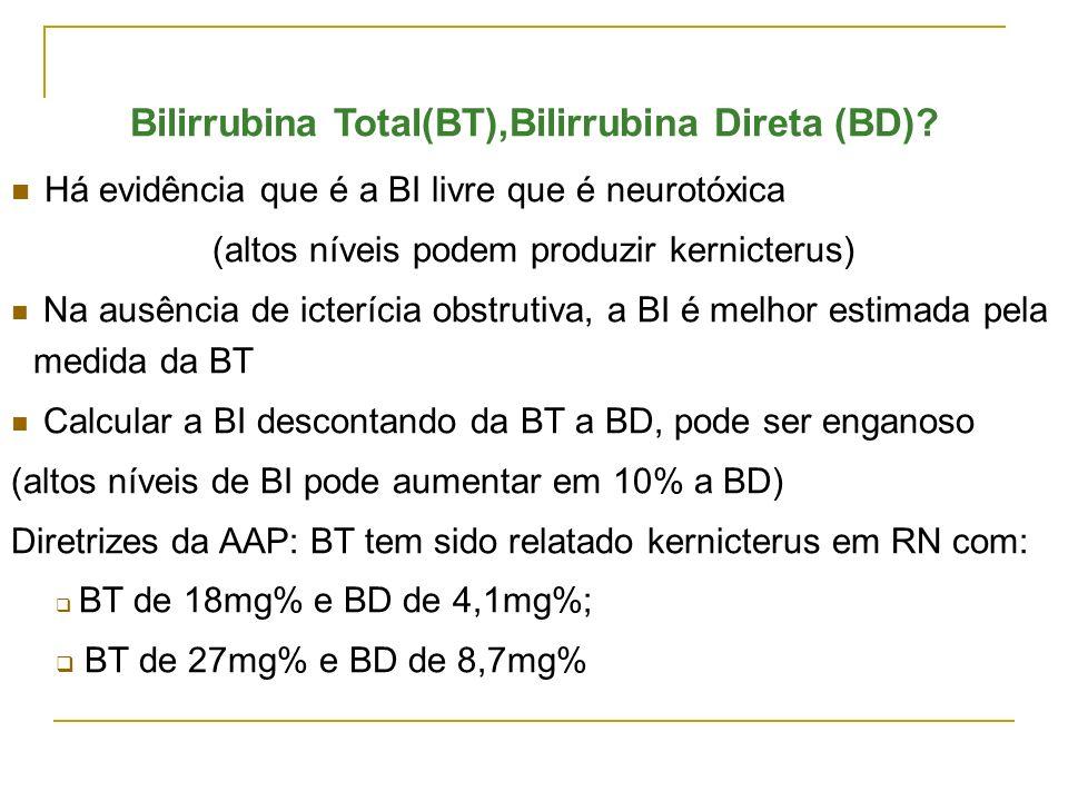 Bilirrubina Total(BT),Bilirrubina Direta (BD)