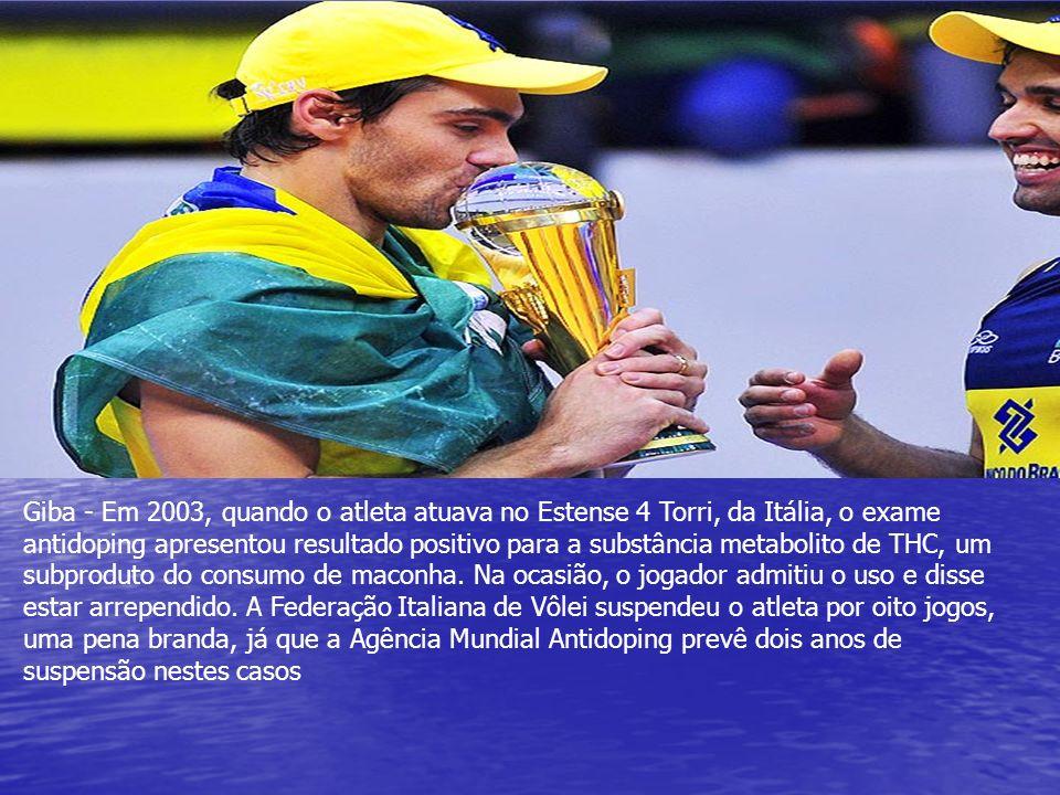 Giba - Em 2003, quando o atleta atuava no Estense 4 Torri, da Itália, o exame antidoping apresentou resultado positivo para a substância metabolito de THC, um subproduto do consumo de maconha.