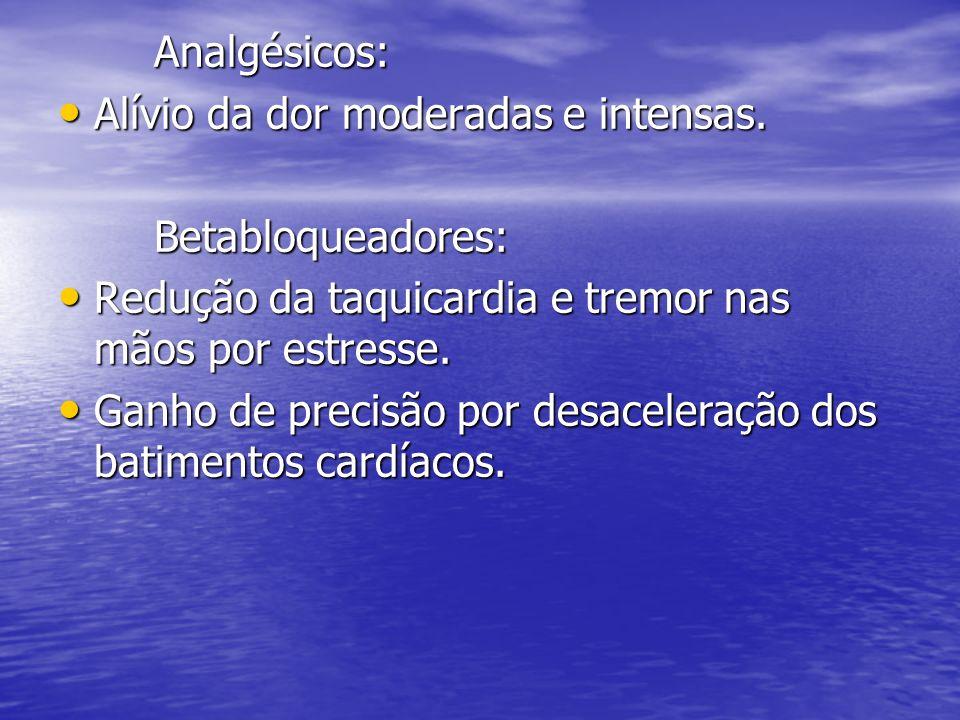 Analgésicos: Alívio da dor moderadas e intensas. Betabloqueadores: Redução da taquicardia e tremor nas mãos por estresse.