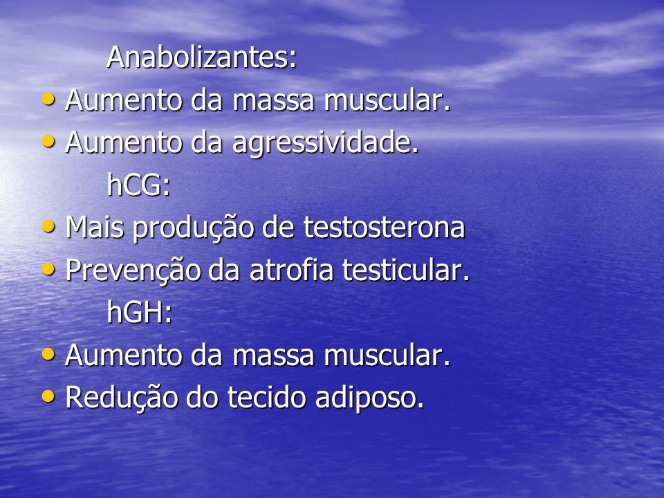 Anabolizantes: Aumento da massa muscular. Aumento da agressividade. hCG: Mais produção de testosterona.