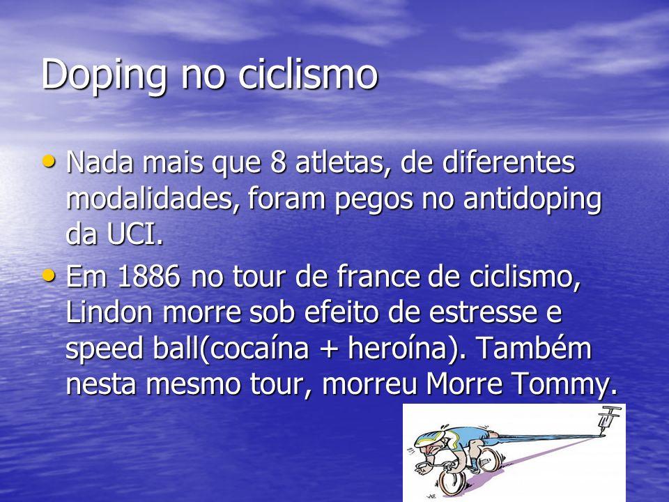 Doping no ciclismo Nada mais que 8 atletas, de diferentes modalidades, foram pegos no antidoping da UCI.