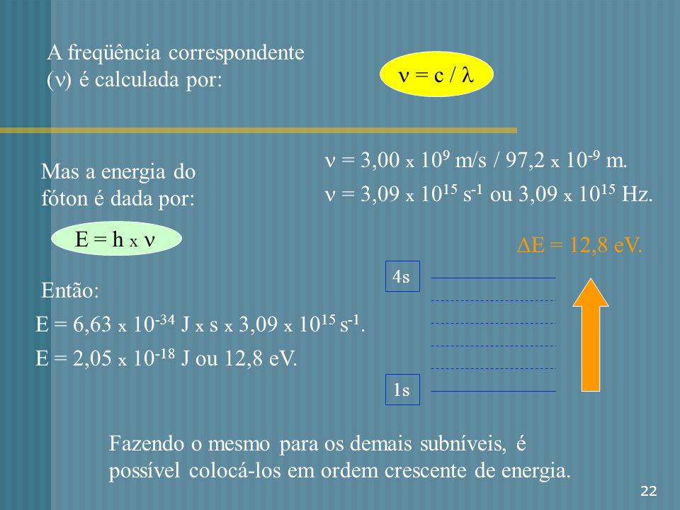 A freqüência correspondente (n) é calculada por: n = c / l
