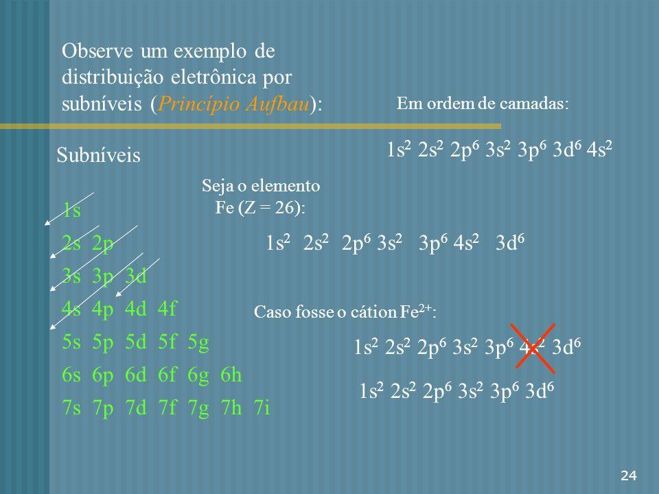 Seja o elemento Fe (Z = 26):