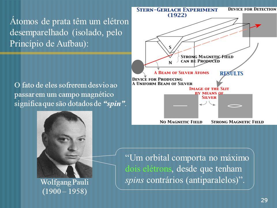 Átomos de prata têm um elétron desemparelhado (isolado, pelo Princípio de Aufbau):