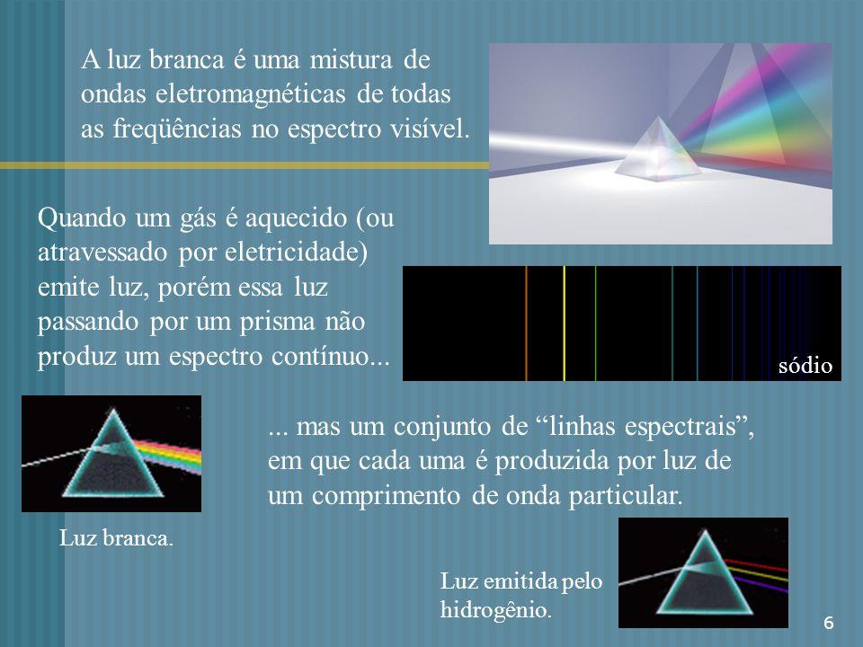 A luz branca é uma mistura de ondas eletromagnéticas de todas as freqüências no espectro visível.
