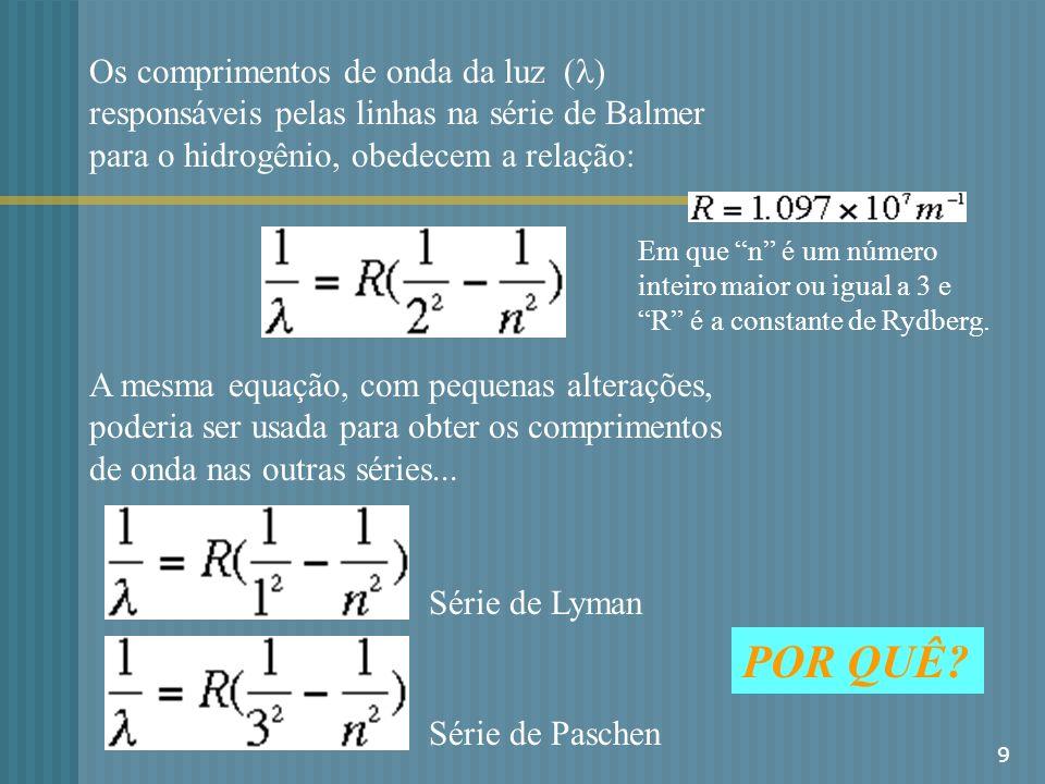 Os comprimentos de onda da luz (l) responsáveis pelas linhas na série de Balmer para o hidrogênio, obedecem a relação: