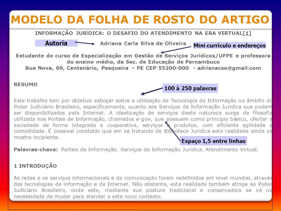 MODELO DA FOLHA DE ROSTO DO ARTIGO