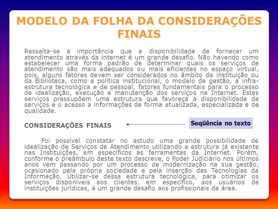 MODELO DA FOLHA DA CONSIDERAÇÕES FINAIS