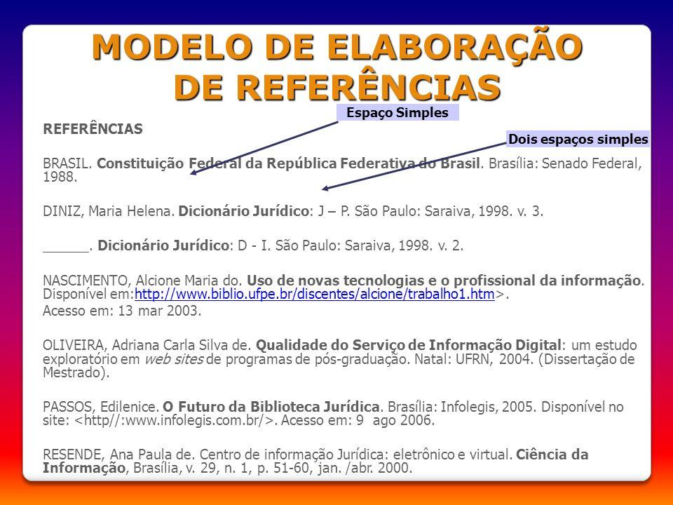 MODELO DE ELABORAÇÃO DE REFERÊNCIAS